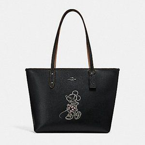 Coach Disney Minnie Mouse Zipper Tote Bag Leather